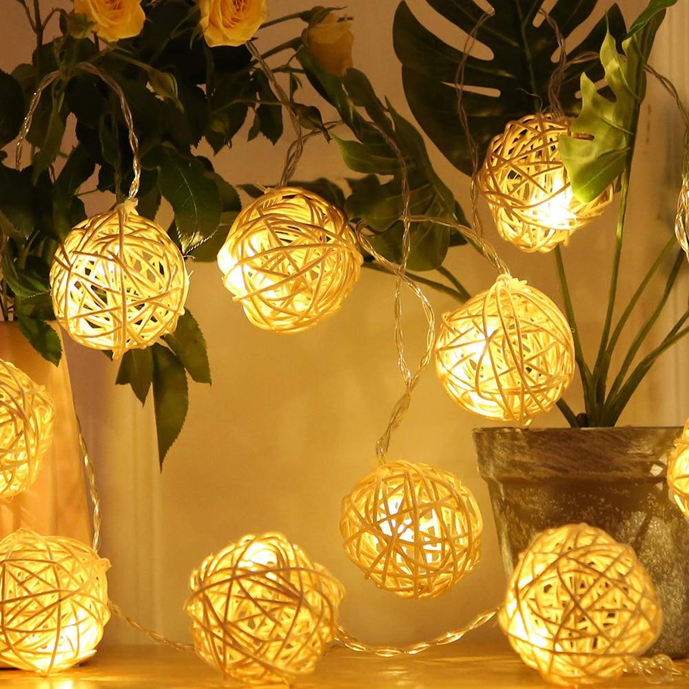 10/20 LED Rattan Garland Balls Luminaria Light String Indoor New Year Wedding Bedroom Christmas Tree Decoration Garlands