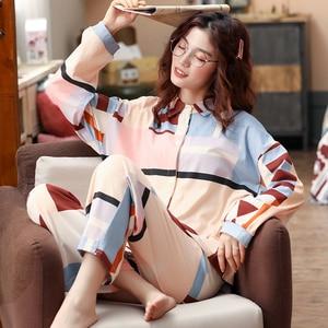 Image 1 - BZEL Mới Nữ Set Bộ Tay Dài Quần Dài Đồ Ngủ Dép Nữ Homewear Loungewear Hoạt Hình Váy Ngủ Pijama Bộ Pyjama