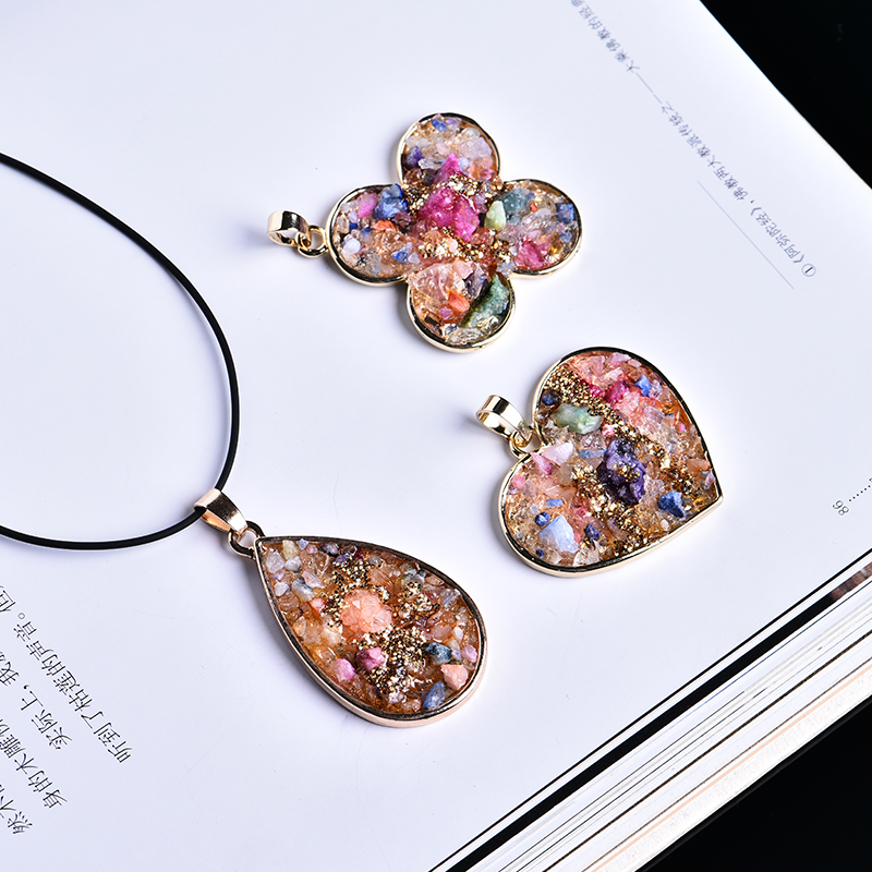 1pc Diverse jewelry pendant necklace Delicate colorful natural agate pendant stones and crystals healing holiday party DIY gift(China)