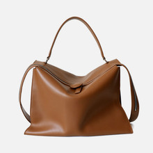 Bag Tote-Bag Coated-Cowhide Women Crossbody-Bag Large-Capacity New And Zipper Solid Autumn