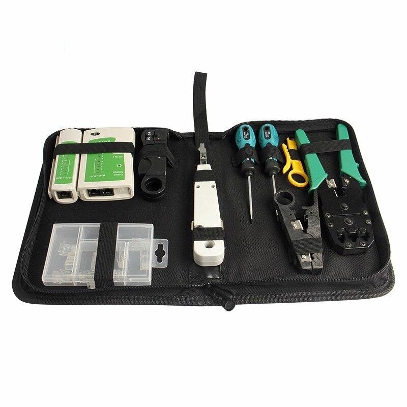 10pcs kit di strumenti di rete LAN Set di tester per cavi Piegatore - Set di attrezzi - Fotografia 3