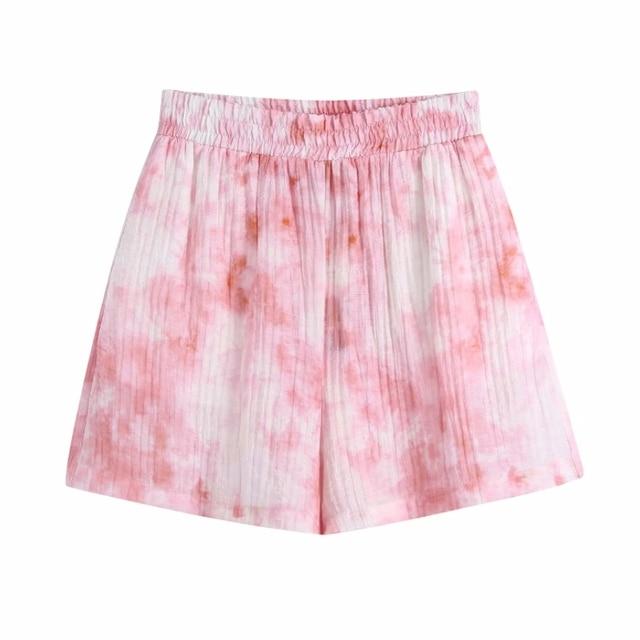 Summer Women Tie Dye Printing Elastic Waist Loose Shorts Casual Female Clothes P2052