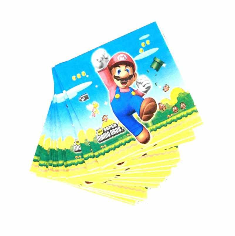 20 Cái/gói Super Mario Bros Dùng Một Lần Khăn Ăn Super Mario Bros Sinh Nhật Trang Trí Super Mario Bros Dùng Một Lần Bộ Đồ Ăn
