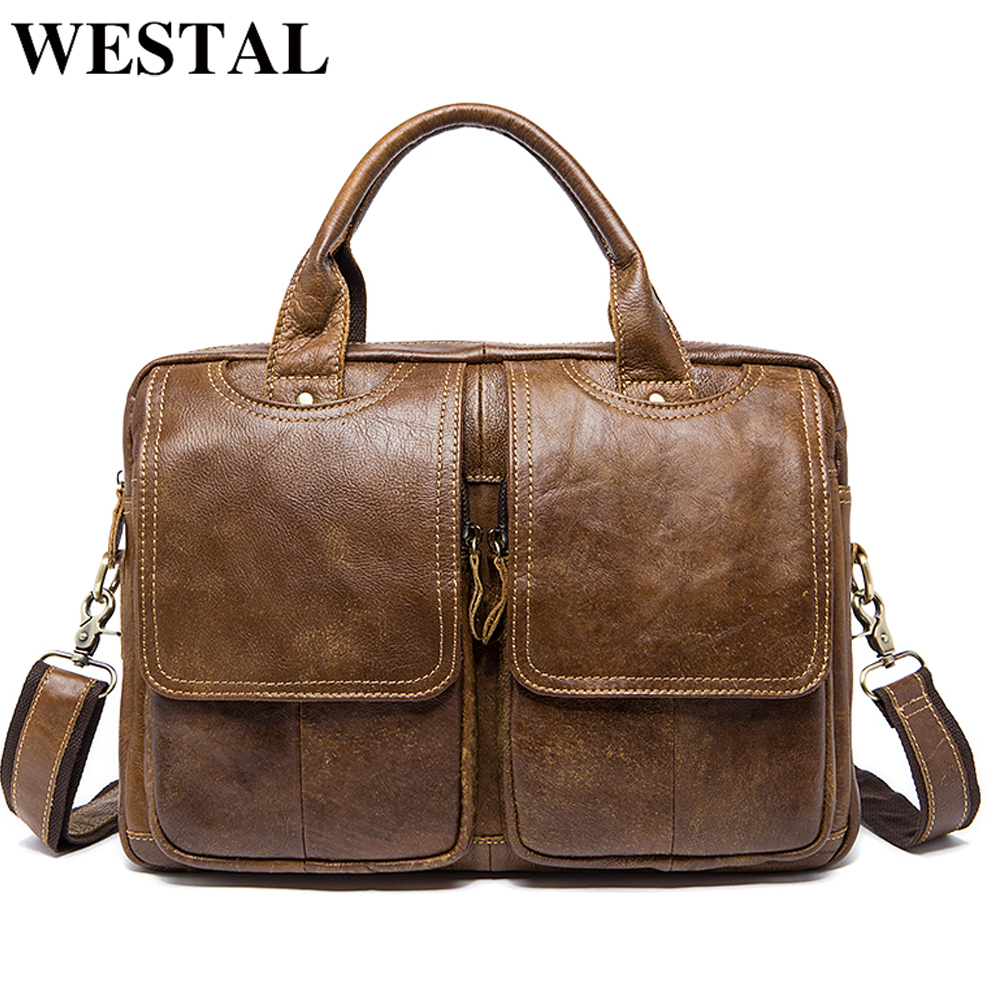 WESTAL Men's Briefcases Bags Men's Genuine Leather Laptop Bag Messenger Bag Men Leather Office Bags For Men Document Briefcases