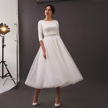 Temperament Wedding Dress Round Neck Beautiful Short Skirt Elegant Simple Retro Beige Belt Wedding Dress Sexy