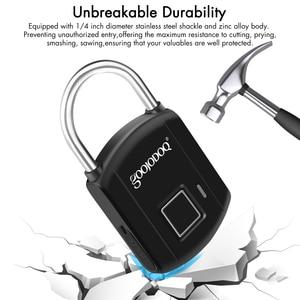 Image 3 - Goojodoq 스마트 지문 잠금 usb 충전 자물쇠 금속 보안 열쇠가없는 충전식 전기 도어 잠금 배낭 수하물