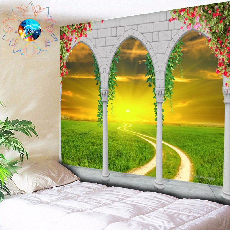 Psychedelic Sun Tapestry Grassland Wall Hanging Hippie Wall Tapestry Boho Decoration Home Decor gobelin tenture murale tissus image