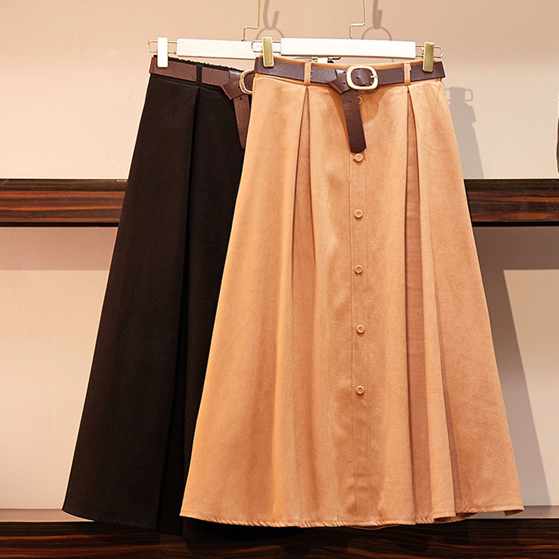 Casual Solid Color Buttons Midi Skirt Women Autumn Winter Elegant Hight Waist A Line Simple Pleated Plus Size Office Lady Skirt