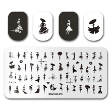 Manicure-Stencil-Set Stamping-Plates Letter Nail Beauty Mouteen015 Hot Goth for Sex-Girl
