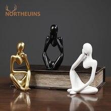 Northeuins mini nordic abasract pensador estátuas resina estatueta máscara de ouro escritório decoração para casa decoração desktop figuras ornamento