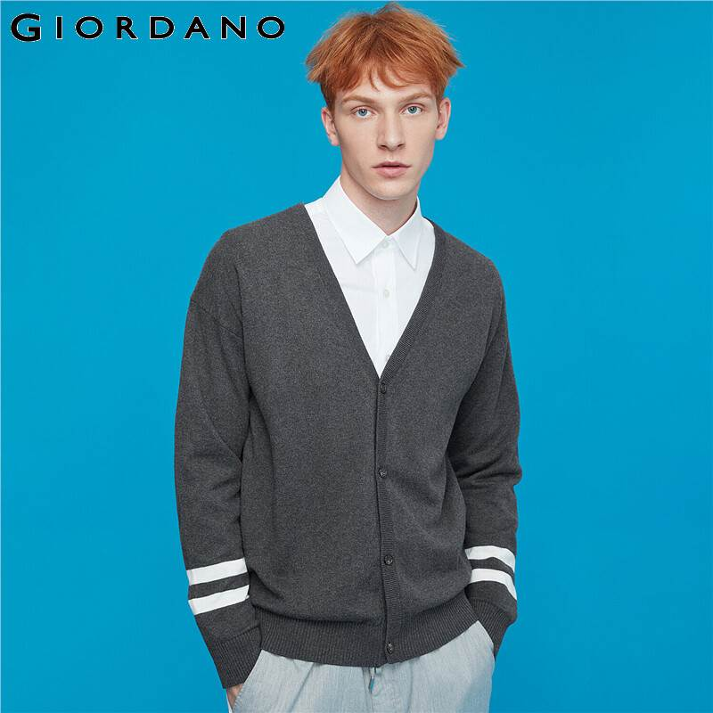 Giordano Men Sweaters Contrast Button Front Long Sleeve Cardigan Coton 12 Needle Knitting Blusa De Frio Masculino 13059801