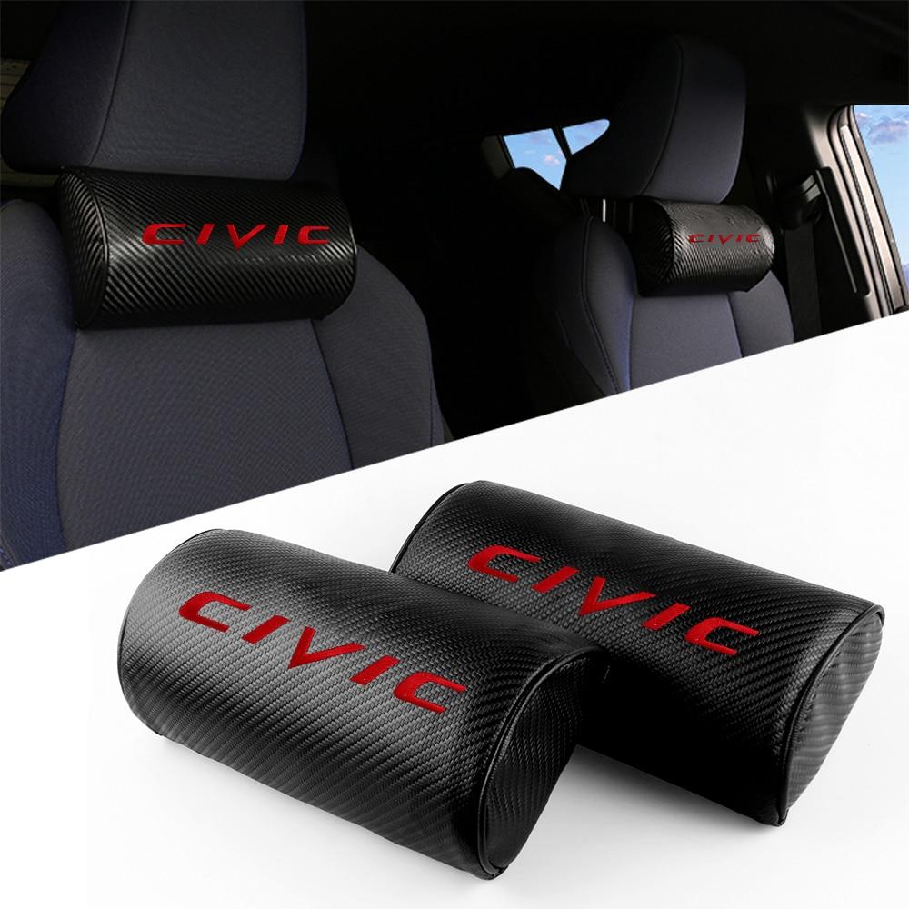 2pcs Car Seat neck pillows Carbon fiber leather headrest case For Honda Civic typer mugen 2002 - 2020 Emblem Accessories