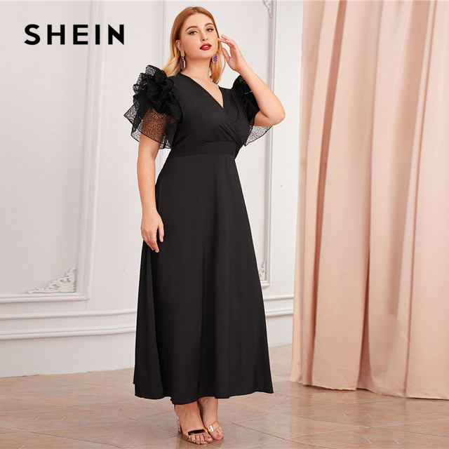SHEIN Plus Size Black V Neck Exaggerated Ruffle Surplice Flared Party Dress Women Autumn Short Sleeve Ladies A Line Maxi Dresses 2