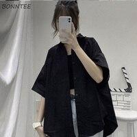 Blusen Shirts Frauen Hülse Mit Drei Vierteln Sommer Streetwear Alle-spiel Harajuku BF Lose Vintage Frauen Chic Outwear Stilvolle Neue