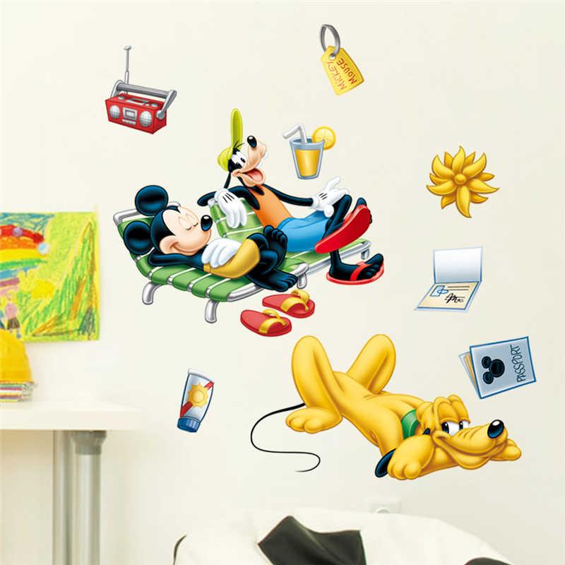 Dibujos animados de Mickey Goofy Plutón vacaciones pegatinas de pared para niños habitación dormitorio decoración de la pared calcomanía PVC Mural arte DIY papel pintado