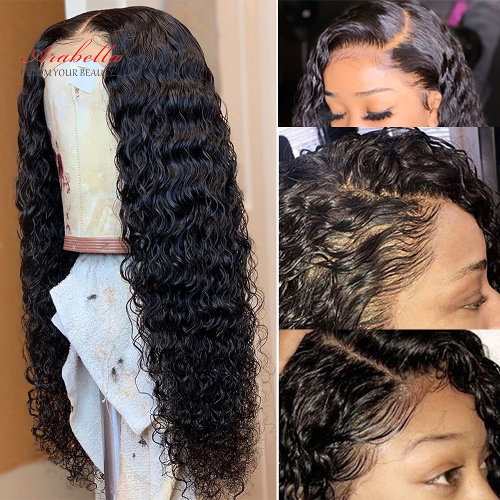 13x4 Water Wave Closure Wig  Lace Front Wig Pre Plucked Bleached Knots Lace Wigs  Frontal Lace Closure Wig 5