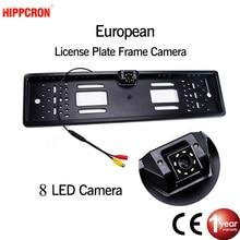 SINOVCLE vista trasera de coche Cámara EU Marco de matrícula europea impermeable visión nocturna cámara de respaldo de marcha atrás 4 o 8 luz LED