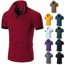 New Men's Polo Shirt Men's Casual Deer 3 Embroidered Cotton Polo Shirt Men's Short Sleeve High Quality Polo Men's Casual Shirt(China)