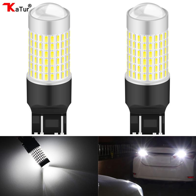 2PCS 6000K White Lada Kalina Granta Vesta DRL LED Bulbs SRCK 7443 7444 T20 W21/5W LED Lamp Extremely Bright 144Leds Canbus Led