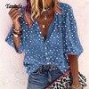 Taniafa Fashion Women Casual Loose Print Long Sleeve Shirts Casual V Neck Polka Dot Tops Blouse Plus Size 1