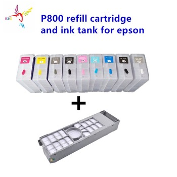 9pcs/set T8501-T8509 80ml refillable cartridge with permanent chip and 1pc maintenance tank for Epson Sure Color SC P800 printer