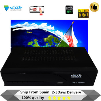 Vmade newest DVB-T2 digital set top boxes receiver H.265/HEVC DVB T2 hot sale Europe DVB-T h.265 hevc Support USB WIFI with RJ45