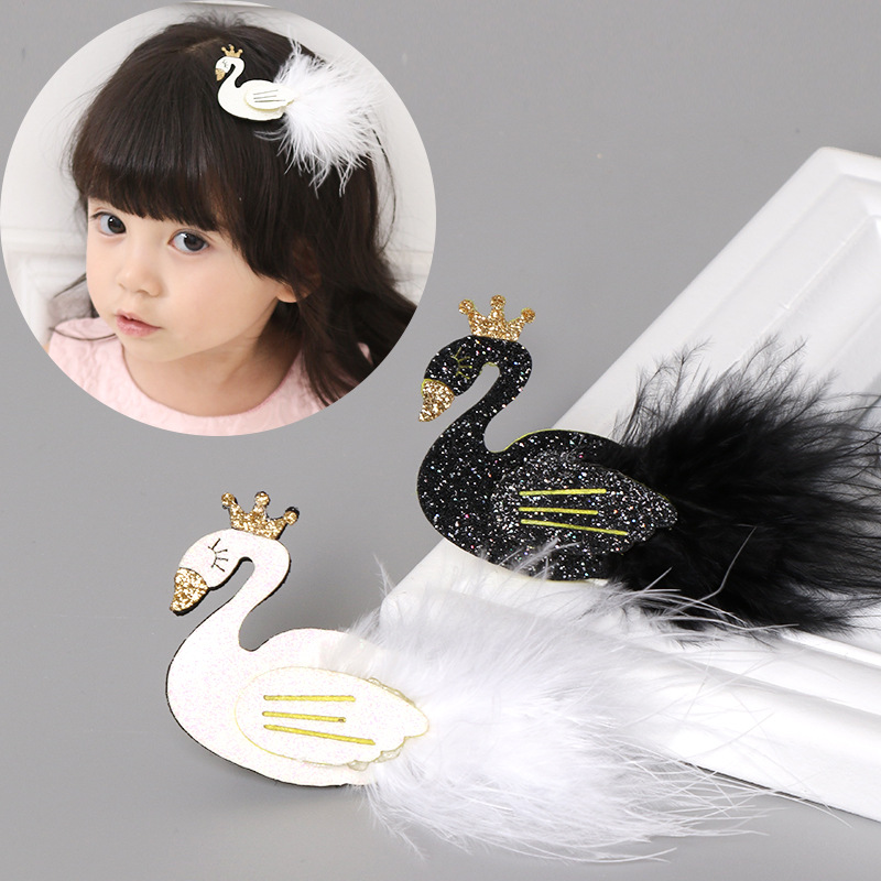 2Pcs/lot Lovely Hair Bows For Girls Swan Hair Clips Handmade Glitter Princess Hairgrips Black/White Hairpin Party Kids Headwear