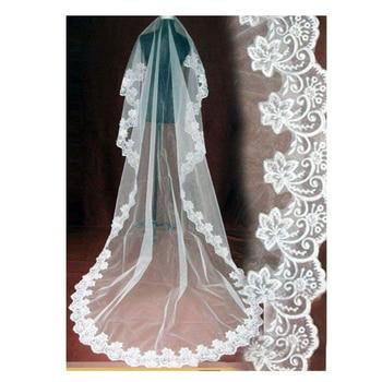 wedding veil long 5 meter 10 White/Ivory bride with lace edge veu de noiva longo com renda metros velo sposa