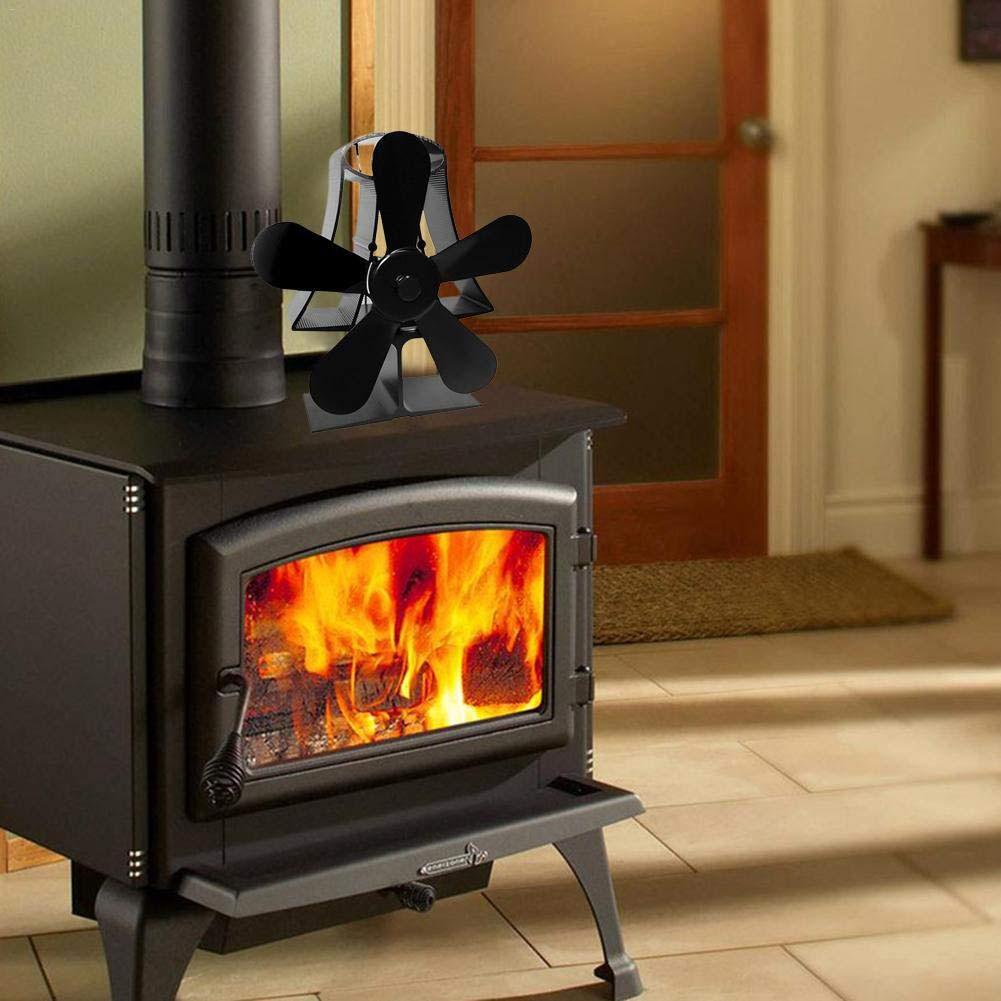 Home Aluminum Wood Stove Practical 5 Blade Fireplace Fan Motor Heat Powered Portable Burner Warm Modern Log Eco Friendly