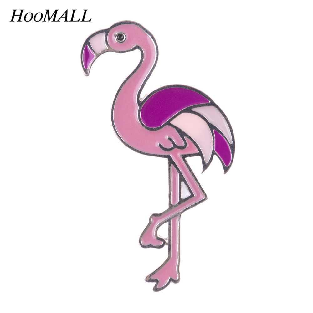 Hoomall Kawaii metalowe szpilki Enemal odznaki Cartoon Flamingo broszki ikony dekoracja plecaka naszywki na ubrania DIY