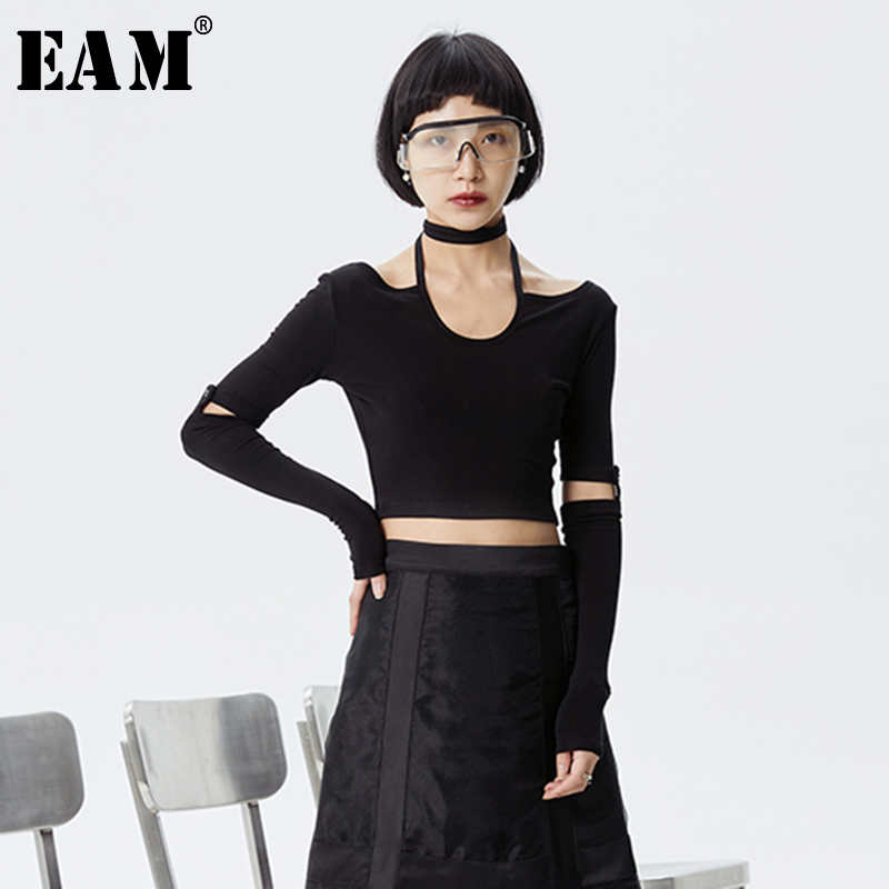 [EAM] Women Black Split Brief Temperament Short T-shirt New Halter Long  Sleeve  Fashion Tide  Spring Summer 2020 1S977 1