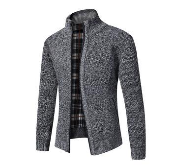 Jesienno-zimowy męski sweter płaszcz gruby ciepły swobodny sweter sweter męski Slim Fit sweter z dzianiny sweter Jumper tanie i dobre opinie CHINA zipper Standardowy wełny D133 Poliester Akrylowe Stałe MANDARIN COLLAR Na co dzień Kieszenie Mieszkanie dzianiny