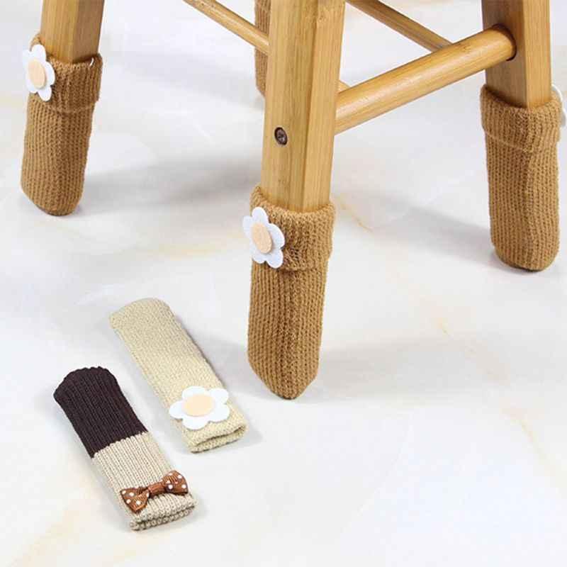 1Pc mignon fleur Applique Double couche tricot Table chaise pied jambe couverture protecteur à manchette chaussette manches extensible anti-dérapant porter