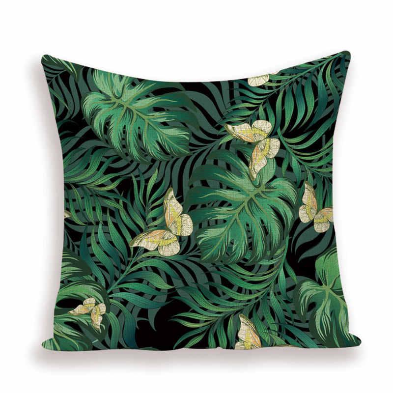 ג 'ונגל טרופי כרית מקרה ירוק עלים כריות כיסוי קיץ כרית מכסה עלה עיצוב הבית חיצוני רכב מיטת Kissen מקרי