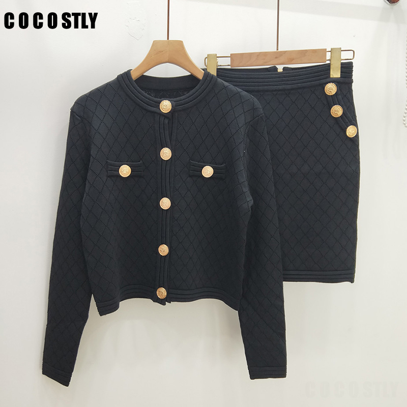 European Style Solid Suit Autumn Winter Knitted Two Piece Set Women Elegant O-neck Long Sleeve Cardigan + Skirt Matching Sets