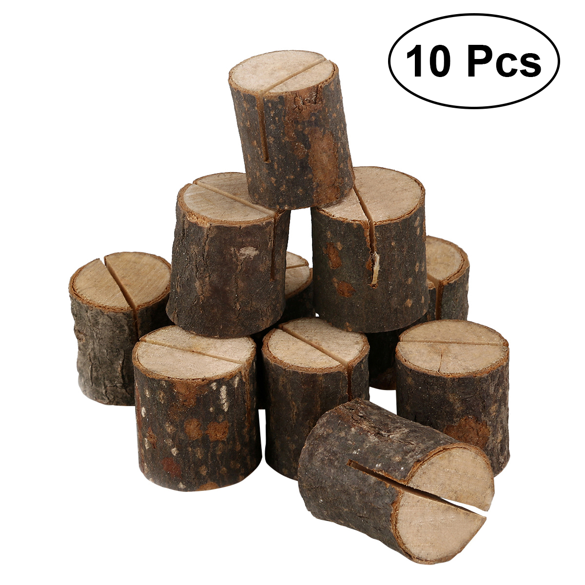 TINKSKY 10pcs Wooden Wedding Name Place Card Holders Home Decor