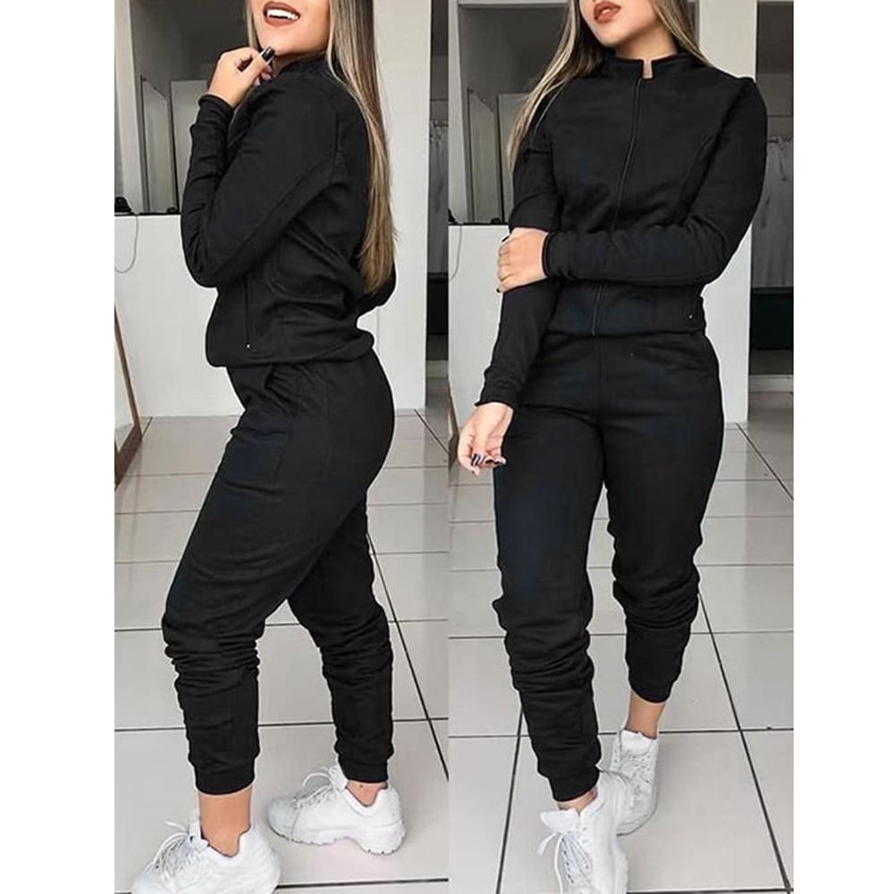 Women 2 Pcs Tracksuit Sports Long Sleeve Sweatshirts Thin Fleece Joggers Suits Running Set Workout Gym Spring Sportswear 2
