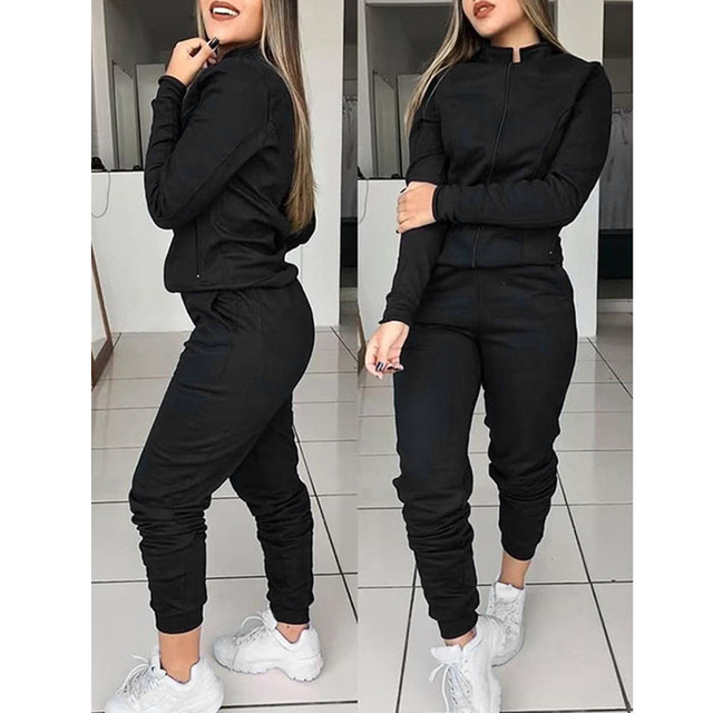 Women 2 Pcs Tracksuit Sports Long Sleeve Sweatshirts Thin Fleece Joggers Suits Running Set Workout Gym Spring Sportswear 2