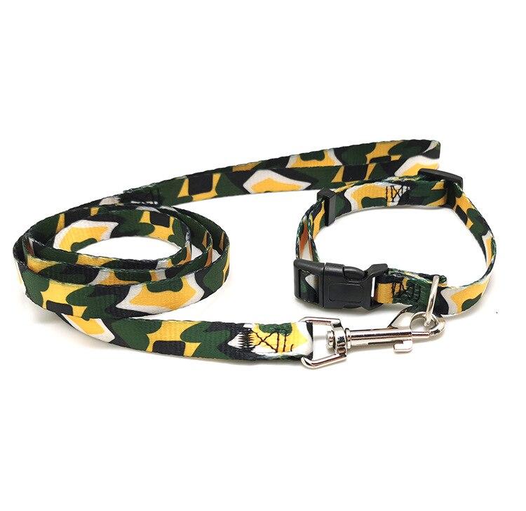 Large And Medium-sized Dog Dog Pet Printed Nylon Flat Traction Belt Lanyard Neck Ring