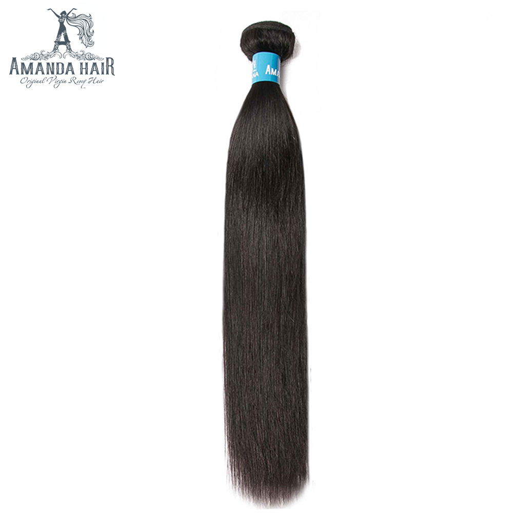 Amanda Straight Double Drawn Human Hair Weave Bundles Natural Color Unprocessed Virgin Hair Bundles Brazilian Hair Extensions