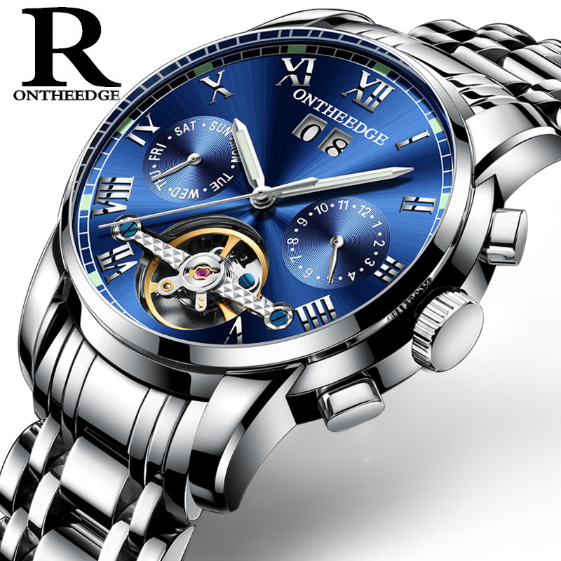 ONTHEEDGE Multifunctional Swiss solid stainless steel men's tourbillon automatic mechanical watches