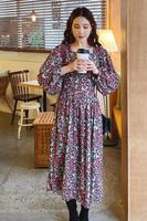 South Korea chic new pattern of tall waist restoring ancient ways show thin side led long dress in long sleeve