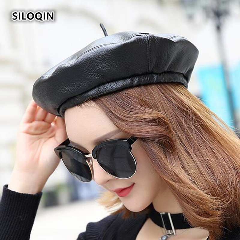 SILOQIN Genuine Leather Hat Berets For Women Winter Trend First Layer Sheep Skin Berets Fashion Leisure Keep Warm Hats Casquette