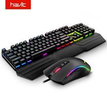HAVIT 기계식 키보드 마우스 세트 104 키 블루 스위치 게임용 마우스 RGB 라이트 유선 USB 러시아어 미국 영국 GER/DE 버전