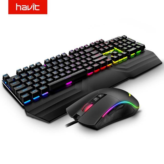 HAVIT Mechanical Keyboard Mouse Set 104 Keys Blue Switch Gaming Mouse RGB Light Wired USB For Russian US UK GER/DE Version