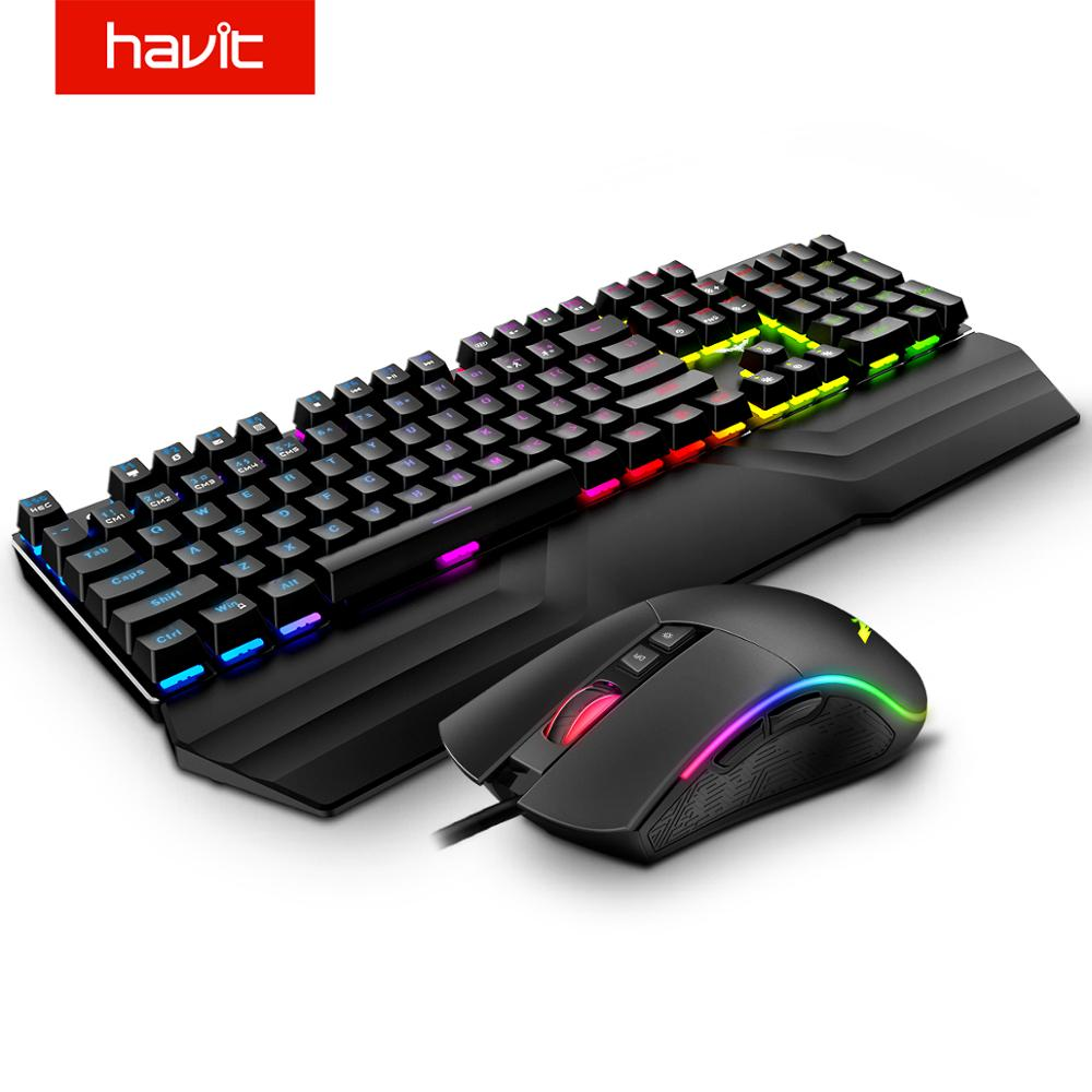 HAVIT Mechanical Keyboard Mouse Set 104 Keys Blue Switch Gaming Mouse RGB Light Wired USB For Russian US UK GER/DE Version title=