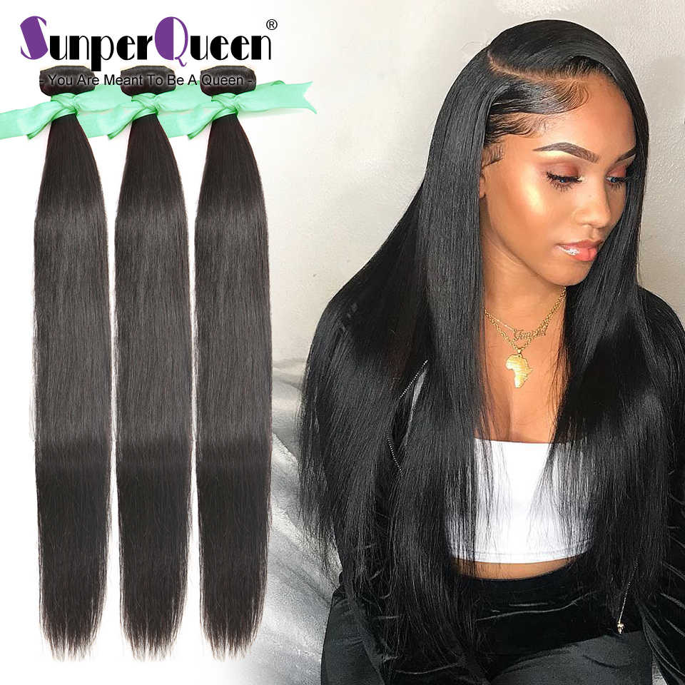 {Sunper Queen} Straight 8-34 36 38 40inch M Brazilian Remy Hair Natural Color 100% Human Hair Weaving 3 /4Bundles Deal