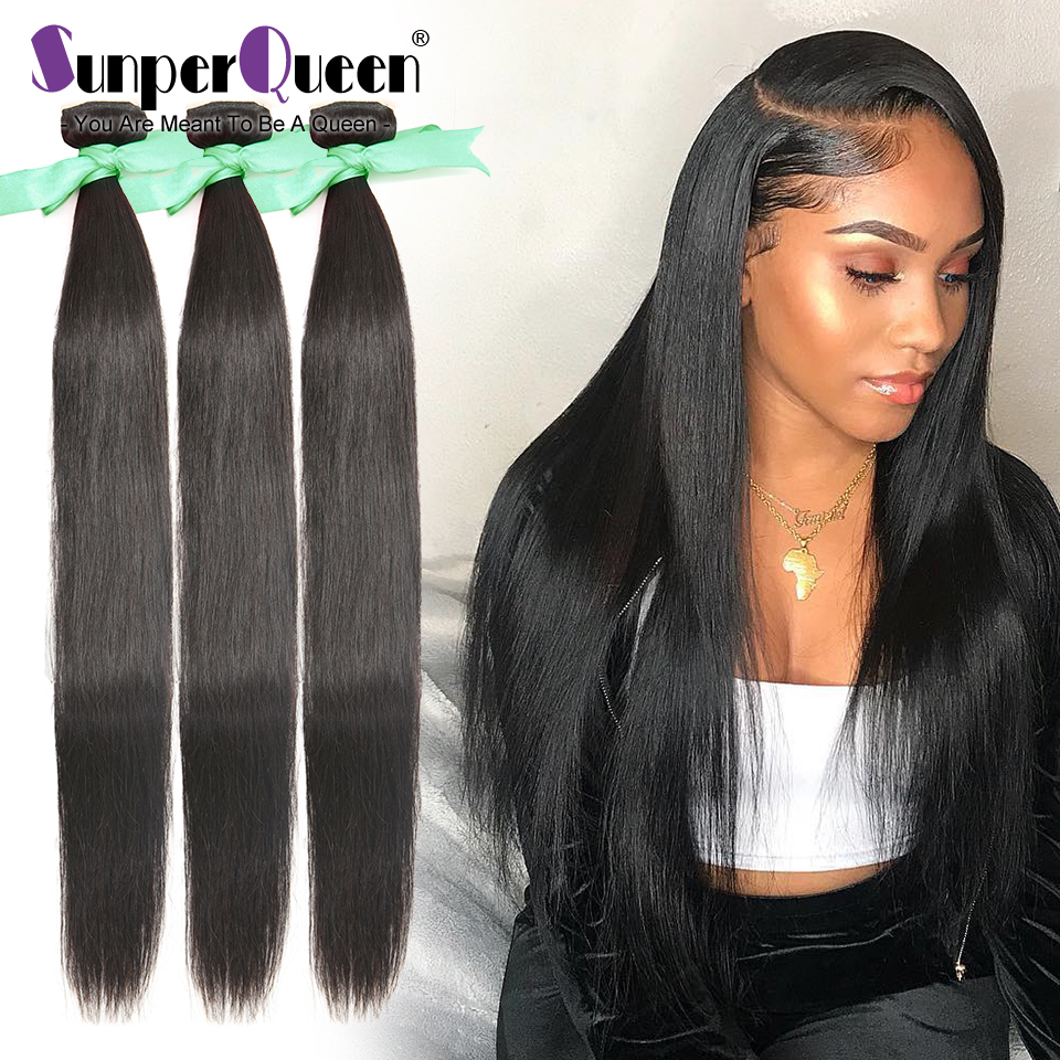 {Sunper Queen} Straight 8-34 36 38 40inch M Brazilian Remy Hair Natural Color 100% Human Hair Weaving 3 /4Bundles Deal