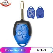 KEYECU Замена дистанционного ключа автомобиля в виде ракушки чехол Fob 3 кнопки дистанционного ключа для Ford Transit WM VM 2006-2014 (оболочка только)