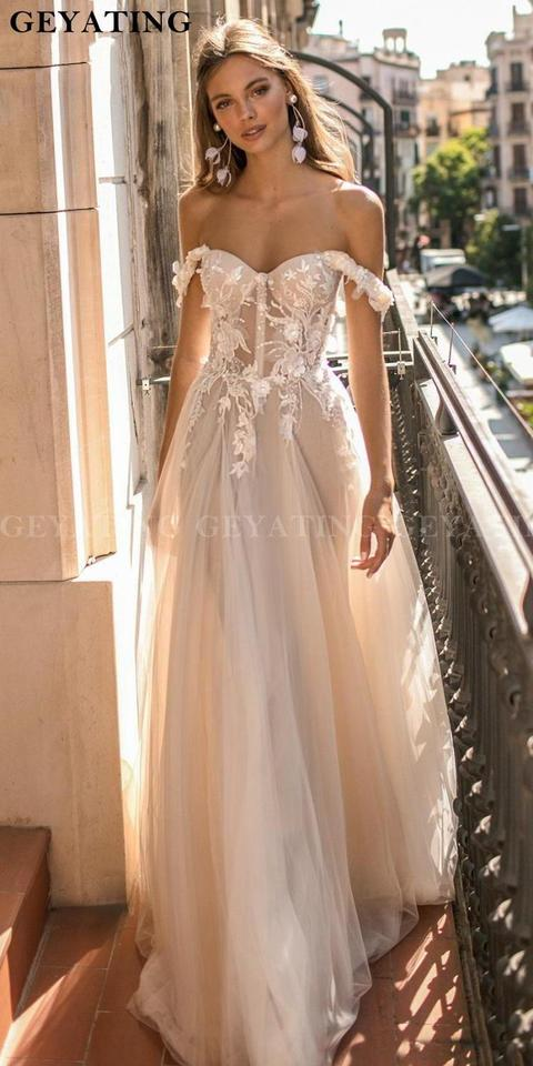 2020 Off Shoulder Boho Wedding Dress Lace Appliques 3 D Flowers Berta Wedding Dresses Sexy Illusion Beach Wedding Party Gowns Wedding Dresses Aliexpress